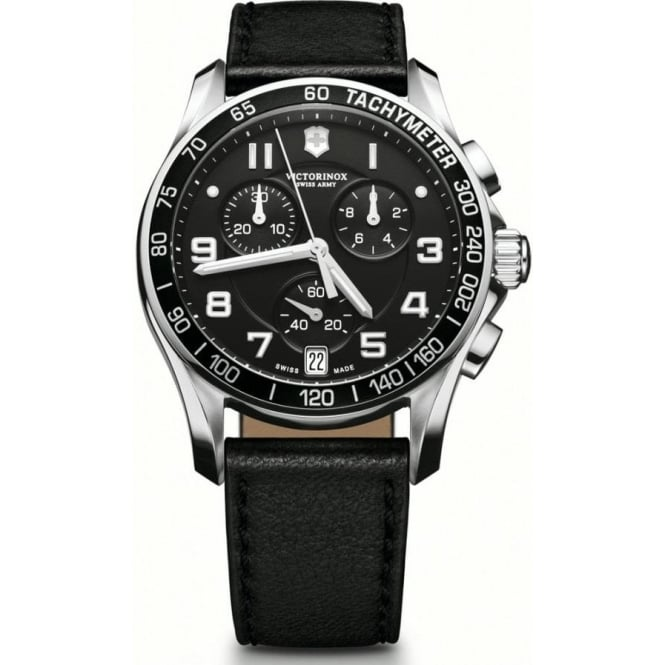 Victorinox Swiss Army 241493 Chrono Classic Black Leather & Black Chronograph Watch