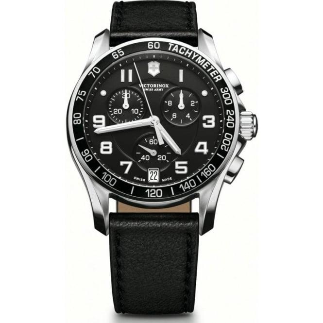 victorinox swiss army 241493 chrono classic black leather