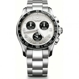 Victorinox Swiss Army 241495 Chrono Classic Stainless Steel & Black on White Chronograph Watch