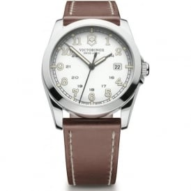 Victorinox Swiss Army 241564 Infantry Light Brown Leather & White Dial Steel Quartz Watch