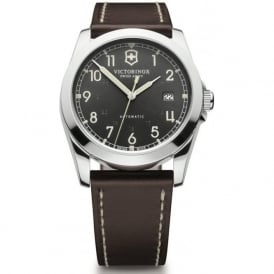 241565 Infantry Brown Leather & Black Dial Steel Automatic Watch