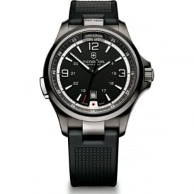241596 Night Vision Black Rubber & Black Ice Stainless Steel Swiss Watch