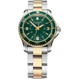 241612 Maverick 34mm Ladies Green Two Toned Swiss Quartz Watch