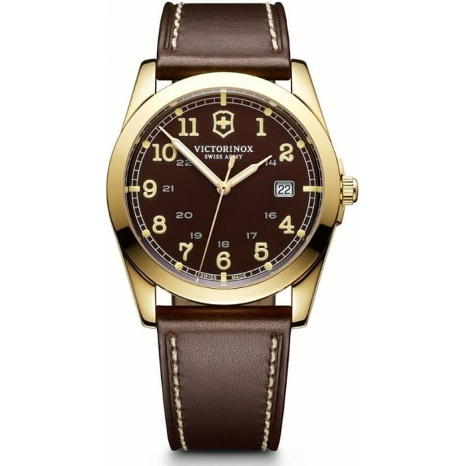 Victorinox Swiss Army 241645 Infantry Brown Leather & Dial Gold Quartz Watch