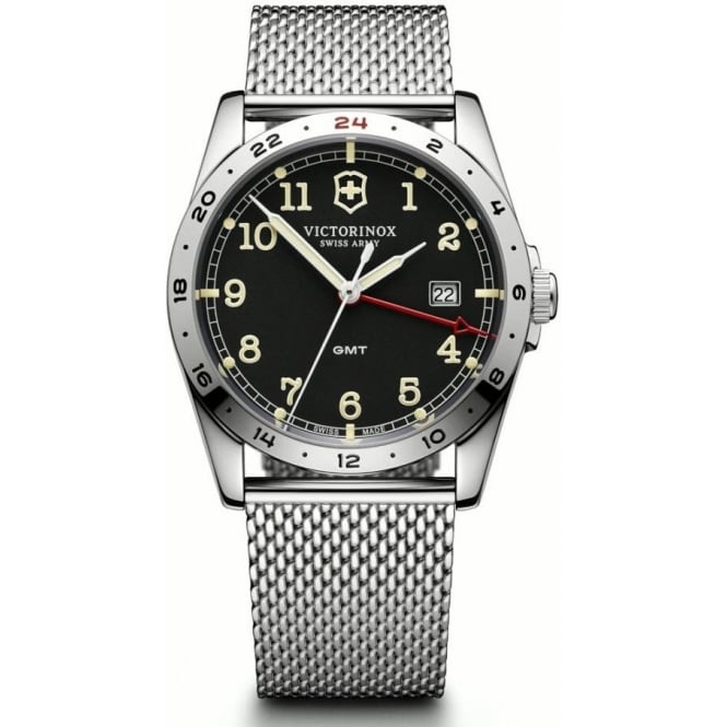 Victorinox Swiss Army 241649 Infantry Stainless Steel Mesh & Black Dial GMT Watch
