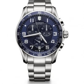 Victorinox Swiss Army 241652 Chrono Classic XLS 45mm Stainless Steel & Blue Chronograph Watch