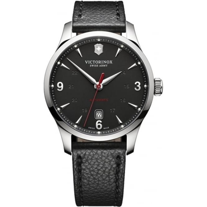 Victorinox Swiss Army 241668 Alliance Black Leather & Black Dial Automatic Watch