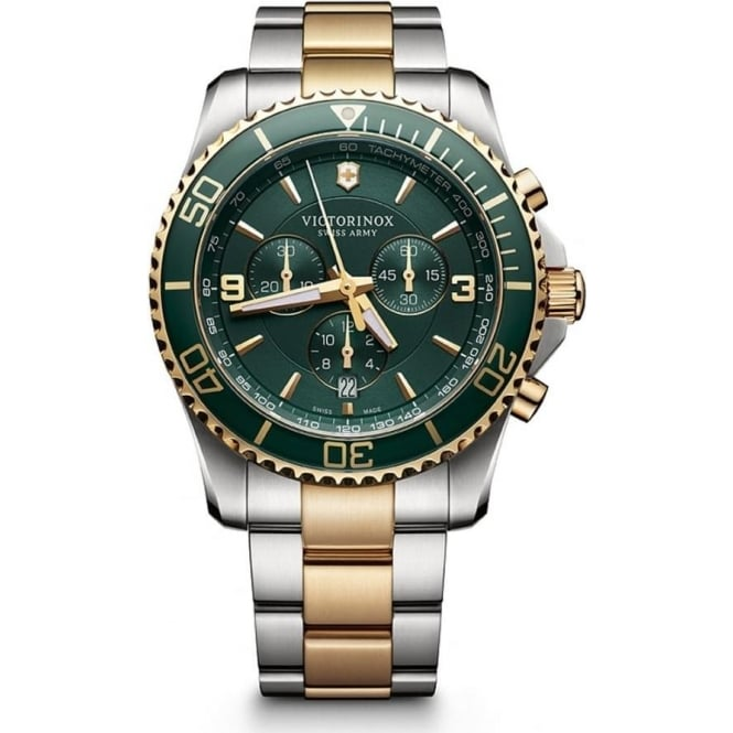 Victorinox Swiss Army 241693 Maverick 43mm Green Two Toned Chronograph Watch