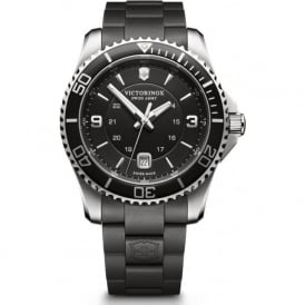 241698 Maverick 43mm Black Rubber & Steel Swiss Watch