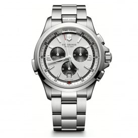 Victorinox Swiss Army 241728 Night Vision Silver Stainless Steel Chronograph Watch