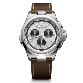Victorinox Swiss Army 241729 Night Vision Silver & Brown Leather Chronograph Watch