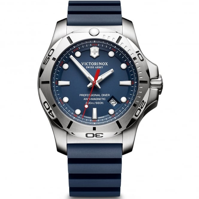 Victorinox Swiss Army 241734 I.N.O.X. Professional Diver Silver & Blue Rubber Men's Watch