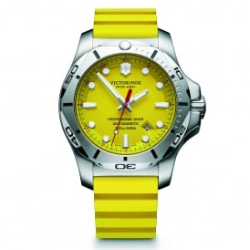 241735 I.N.O.X. Professional Diver Silver & Yellow Genuine Rubber Men's Watch