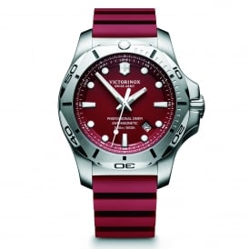 241736 I.N.O.X. Professional Diver Silver & Red Genuine Rubber Men's Watch