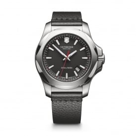 241737 I.N.O.X. Silver & Black Leather Watch