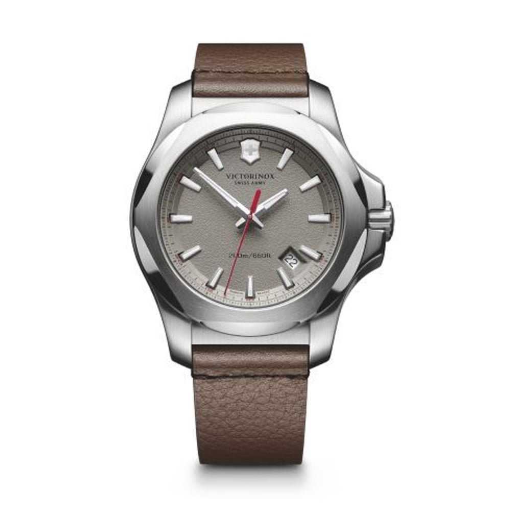 victorinox 241738 inox brown leather watch available