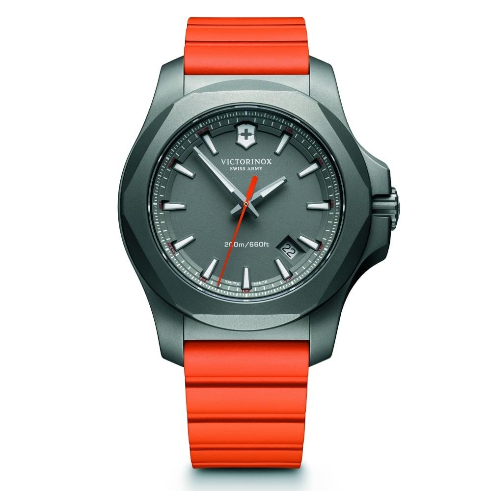 victorinox 241758 i n o x titanium grey and orange genuine rubber victorinox swiss army 241758 i n o x titanium grey orange genuine rubber men s watch