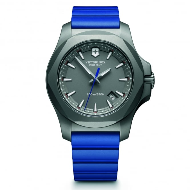 Victorinox Swiss Army 241759 I.N.O.X. Titanium Grey & Blue Genuine Rubber Men's Watch