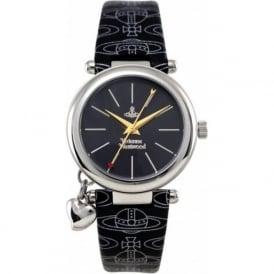 Vivienne Westwood VV006BKBK Orb Silver & Black Leather Ladies Watch