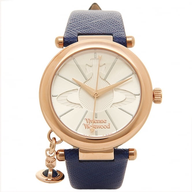 Vivienne Westwood Vivienne Westwood VV006RSBL Orb Gold & Blue Leather Ladies Watch