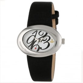Vivienne Westwood VV014WHBK Ellipse Silver & Black Fabric Ladies Watch