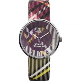 Vivienne Westwood VV020BR Tartan Silver & Colorful Patterned leather ladies Watch