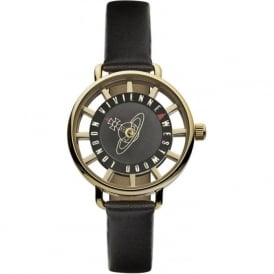 Vivienne Westwood VV055BKBK Tate Gold & Black Leather Ladies Watch
