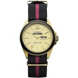 Vivienne Westwood VV068GDBK Camden Lock II Gold & Nylon Strap Mens Watch