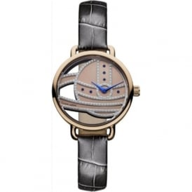 VV076RSGY Ladbroke II Rose Gold & Dark Grey Leather Ladies Watch