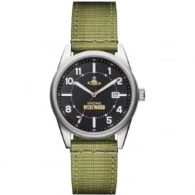 Vivienne Westwood VV079BKGR Butlers Wharf Black & Green Canvas Mens Watch