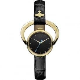 Vivienne Westwood VV082BKBK Horseshoe Gold & Black Leather Ladies Watch