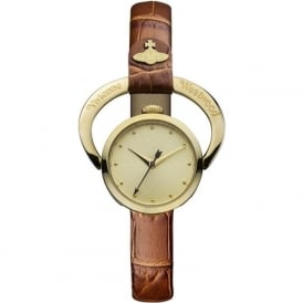 Vivienne Westwood VV082GDTN Horseshoe Gold & Tan Leather Ladies Watch