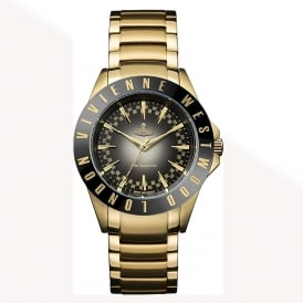Vivienne Westwood VV099BKGD Westminister Black & Gold Stainless Steel Ladies Watch