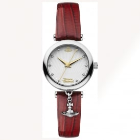 Vivienne Westwood VV108WHRD Trafalgar Silver & Red Patent Leather Ladies Watch
