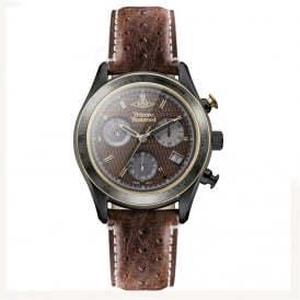 Vivienne Westwood VV142BRBR Sotheby Chronograph Brown Leather Men's Watch