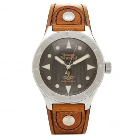 Vivienne Westwood VV160BKBR Smithfield Silver & Brown Leather Men's Watch