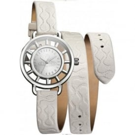 VV055SLWH Tate White Leather Wrap Ladies Watch