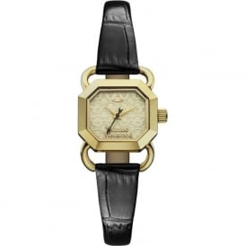 VV085GDBK Ravenscourt Gold & Black Leather Ladies Watch