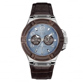 Guess W0040G10 Rigor Blue Dial & Brown Leather Mens Watch