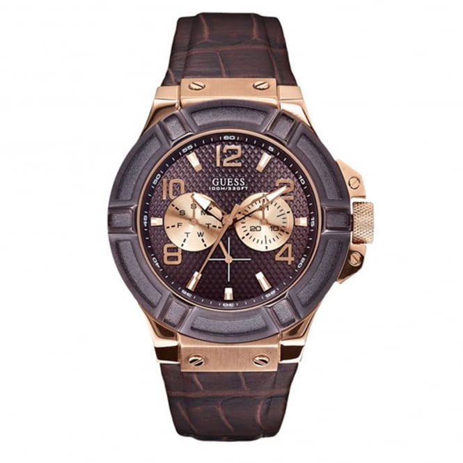 Guess W0040G3 Rigor Brown & Rose Gold Men's Watch