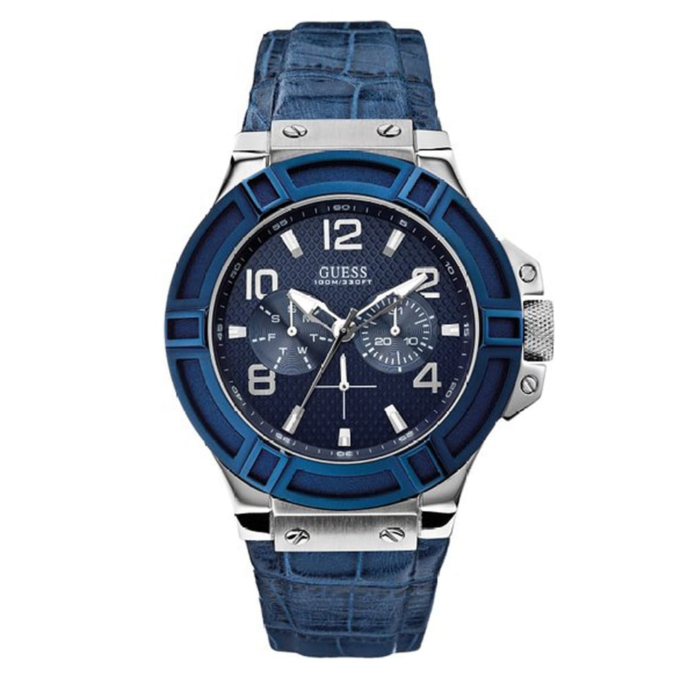 mens guess watches for ticwatches co uk designer discount store w0040g7 rigor blue silver men s watch