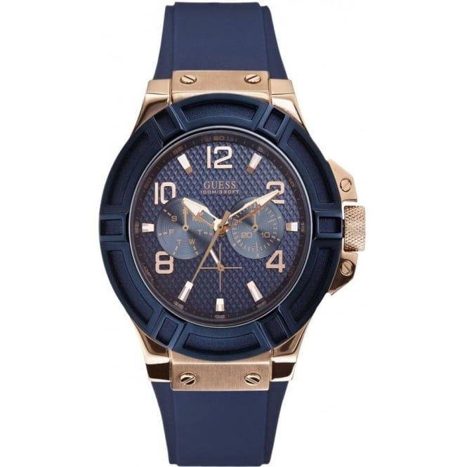 Guess W0247G3 Rigor Rose Gold and Navy Blue Silicon Watch