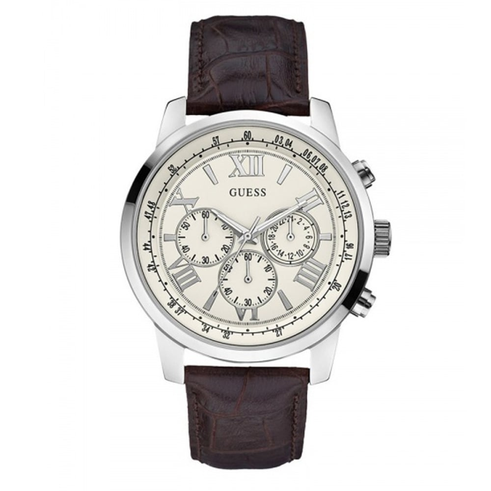 buy the guess w0380g2 watch from tic watches guess w0380g2 horizon cream silver men s chronograph watch