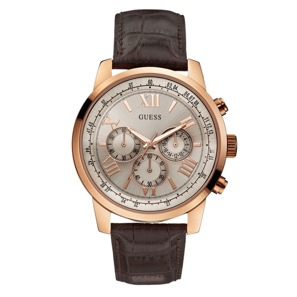 purchase guess w0380g4 horizon men s watch from tic watches guess w0380g4 horizon brown rose gold men s chronograph watch