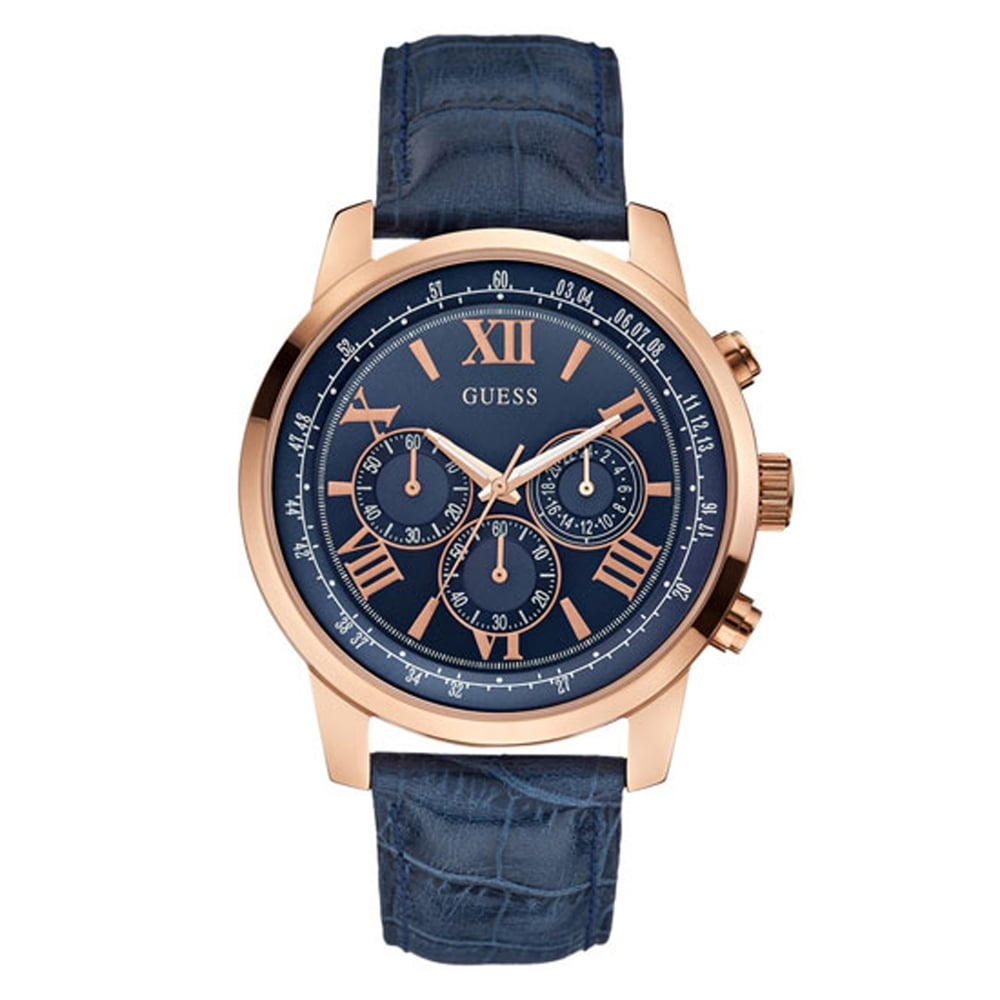 w0380g5 rose gold and navy blue watch men s chronograph watch guess w0380g5 horizon navy rose gold men s chronograph watch