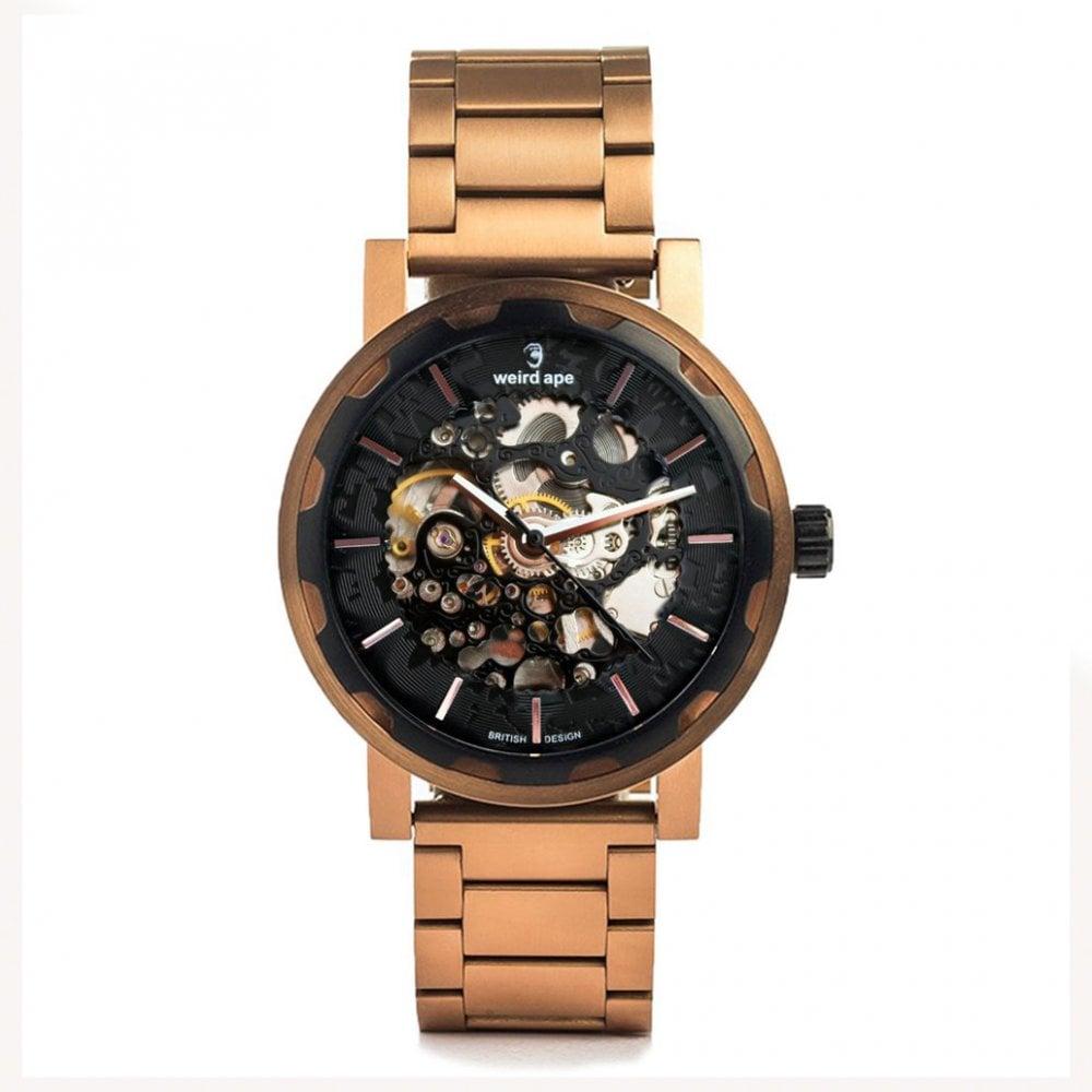 896140fc1 WA02-005521 Kolt Black & Rose Gold Stainless Steel Skeleton Watch