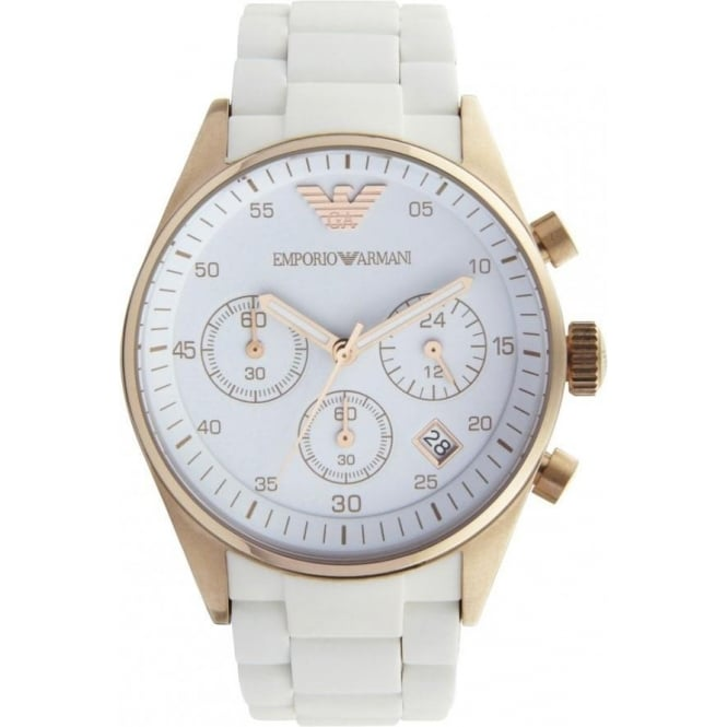 2de5f6a90e2f0 AR5920 White and Rose Gold Women  039 s Chronograph Watch