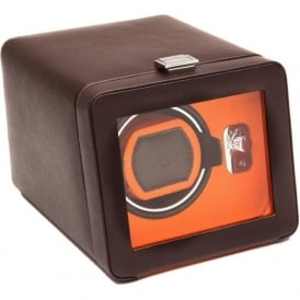 Windsor Orange & Brown Leather Single Watch Winder 2.5 with Cover