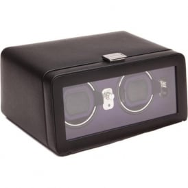 Windsor Purple & Black Leather Double Watch Winder 2.5 with Cover