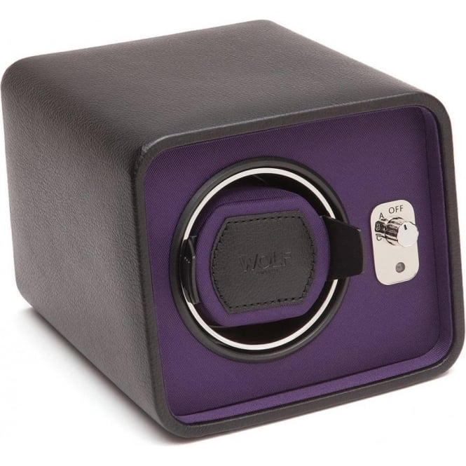 Wolf Designs Windsor Purple & Black Leather Single Watch Winder 2.5